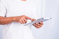Men using tablets. Royalty Free Stock Photo