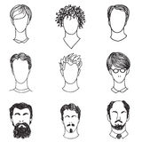 Men with various hair style and beard. Man avatar set.  Handsome Stock Image