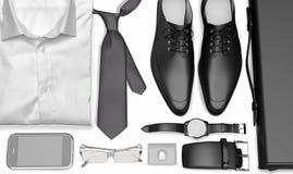 Men& x27; vestiti ed accessori di affari di s su fondo bianco immagine stock