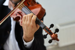Men Violinist Playing Classical Violin Stock Images