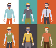 Men in the virtual reality headsets Royalty Free Stock Image