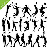 Men volleyball player silhouettes vector Stock Photo