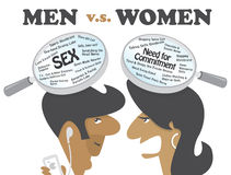 Men vs Women. This image illustrates the funny yet real differences of a man's and woman's brain that can be used for articles or topics about relationship Royalty Free Stock Photography