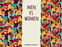 Men vs women crowd people color seamless patterns. Royalty Free Stock Image