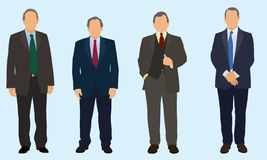 Four Older Businessmen. Wearing suits and ties stock illustration
