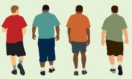 Men Walking Away. Four men wearing shorts & walking away stock illustration