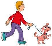 Men walking his pet Royalty Free Stock Image