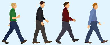 Men Walking in a Line Royalty Free Stock Photo