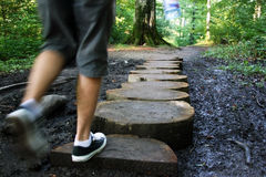 Men walking on a path Stock Photography