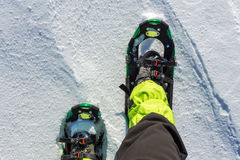 Men wallking in snow with snowshoe. Men wallking in snow Royalty Free Stock Photos