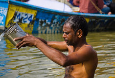 Pilgrim in kumbh 2013 at sangam Royalty Free Stock Photo