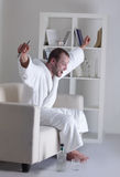 Men watching TV Stock Photography