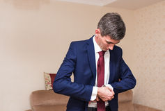 Men wear a shirt and cufflinks Stock Photo