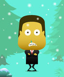 Men wear suits in cold snow, until it looks chills. Men dressed in suits shivering in the rain snow Stock Photo