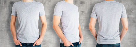 Men wearing empty grey shirt royalty free stock photography