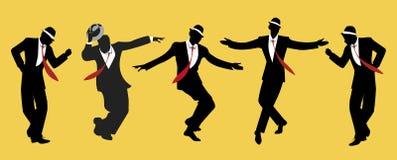 Men wearing hats. Elegant men wearing hats. Dancing swing or jazz Stock Photo