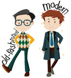 Men wearing old-fashioned and modern clothes Stock Photo