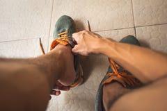 Men wearing running shoes stock image
