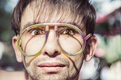 Men wearing a strange glasses Stock Photography