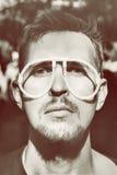 Men wearing a strange glasses Royalty Free Stock Images