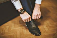 Men wearing work black boot Stock Photos