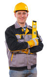 Men wearing working clothes holding construction level isolated Stock Photo