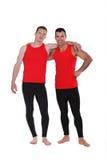 Men wearing workout clothing. Men wearing matching workout clothing stock photo