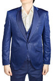 Men wedding suit groom blue patterned, isolated on white backgro Stock Image
