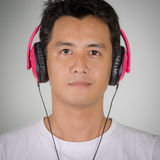 Men were listening headphone Royalty Free Stock Photo