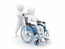 Men on wheelchair. On white isolated background. 3d Stock Photo