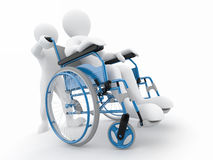 Men on wheelchair. On white isolated background. 3d Stock Images
