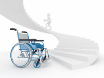 Men with wheelchair and stairs. Difficult decision. 3d Royalty Free Stock Image