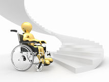 Men with wheelchair and stairs. Difficult decision Stock Photo