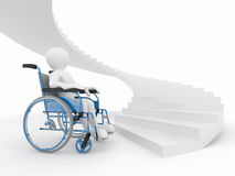 Men with wheelchair and stairs. Difficult decision. 3d Royalty Free Stock Photos