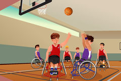 Men in wheelchairs playing basketball. A vector illustration of men in wheelchairs playing basketball in the gym royalty free illustration