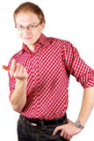 A men white isolated. A young men with finger showing come on Royalty Free Stock Photos