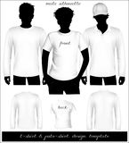 Men White T-shirt And Polo Shirt Template With Hu Royalty Free Stock Photos