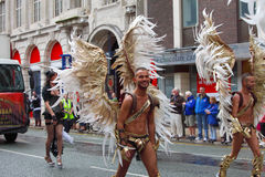 Men in winged costume. Men in costume with wings at Manchester Pride annual event celebrating  lesbian, gay, bisexual and transgender life on the 28th of August Stock Images