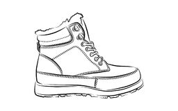 Men winter boots on white background Stock Photo