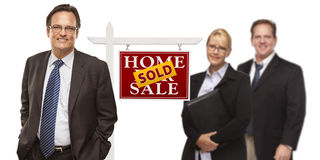 Men and Woman with Real Estate Sign Isolated Stock Image