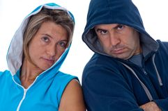 Men and woman in sports clothes Royalty Free Stock Photo