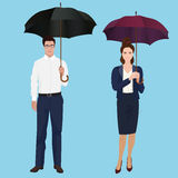 Men and woman with umbrella isolated concept. Insurance agent. Stock Photos