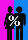 Men and women. Equality, relastionship betwen men and women Royalty Free Stock Images