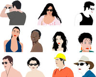 Men and women. Lots of illustrations of men and women Stock Photos