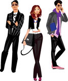Men and women. Colorful illustration of fashionable people Stock Images