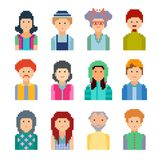 Set of pixel people avatar faces, illustration. Men and women of all ages on white background Stock Illustration
