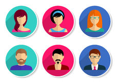 Men and women avatar icons Royalty Free Stock Photos