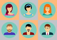 Men and women avatar icons Stock Photography