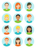 Men and Women, Boys and Girls Faces Round Icons Royalty Free Stock Photo