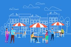Men and Women Characters Relaxing at Outdoor Cafe stock illustration